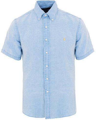 Ralph Lauren Slim Fit Linen Short Sleeve Shirt Riviera Blue