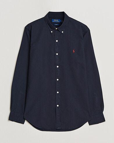 Image of Ralph Lauren Slim Fit Garment Dyed Oxford Shirt Navy