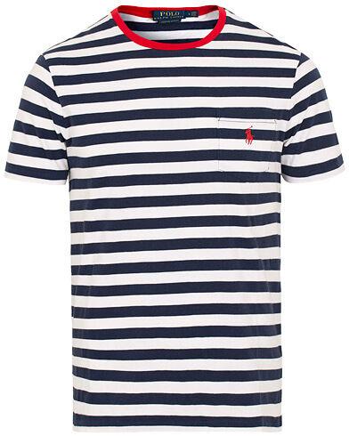 Ralph Lauren Stripe Pocket Crew Neck Tee Newport Navy/White