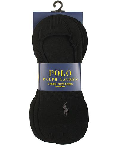 Image of Ralph Lauren 3-Pack No Show Dress Liners Pony Socks Black