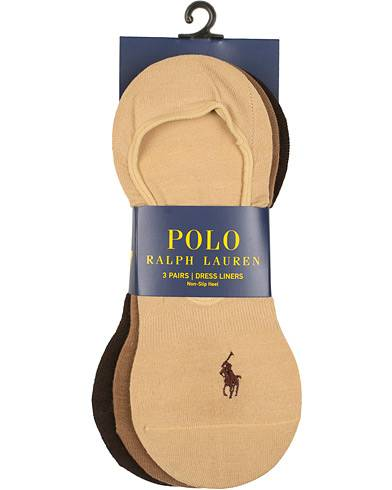 Image of Ralph Lauren 3-Pack No Show Dress Liners Pony Socks Beige