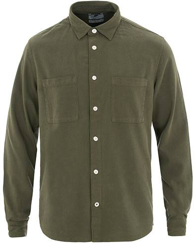 NN07 Alberto Silk Nep Shirt Deep Green