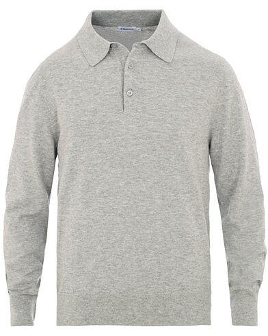 Filippa K Cotton Merino Knitted Poloshirt Light Grey Mel