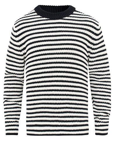 Filippa K Cotton Stripe Round Neck Sweater Navy/Off White