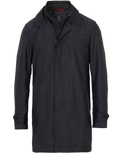 Fay Morning Double Front Nylon Coat Navy