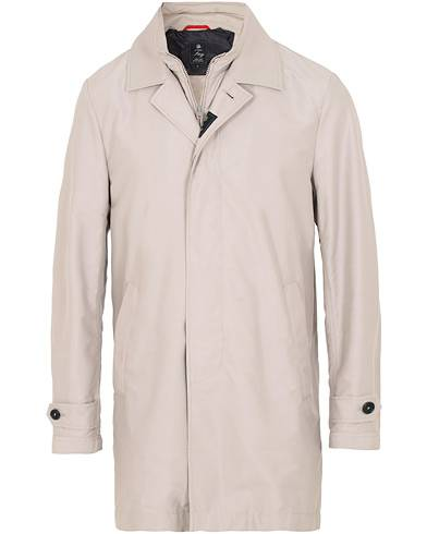 Fay Morning Double Front Nylon Coat Light Grey