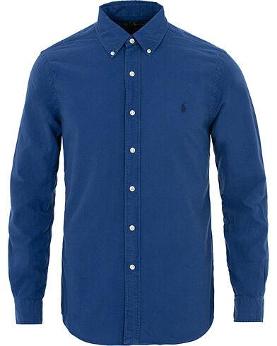 Image of Ralph Lauren Slim Fit Garment Dyed Oxford Shirt Blue