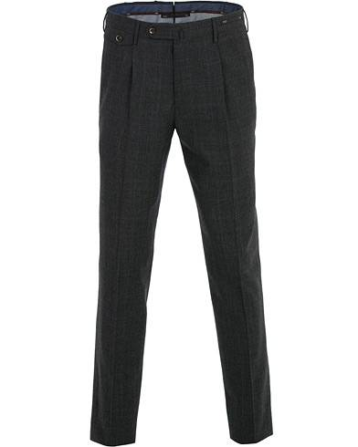 PT01 Gentleman Fit Pleated Wool/Cashmere Trousers Dark Grey