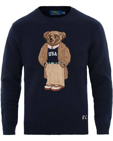 Image of Ralph Lauren Knitted Dress Preppy Bear Navy