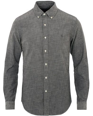Image of Ralph Lauren Slim Fit Chambray Shirt Grey