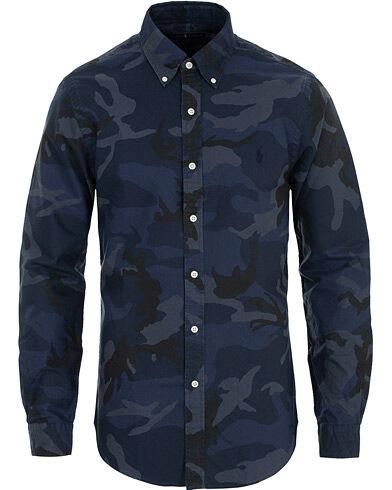 Image of Ralph Lauren Slim Fit Camo Shirt Blue