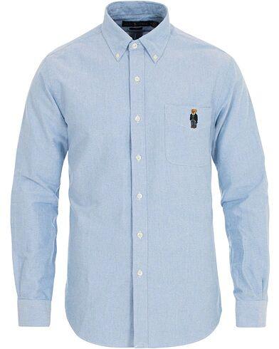 Image of Ralph Lauren Slim Fit Oxford Bear Shirt Light Blue