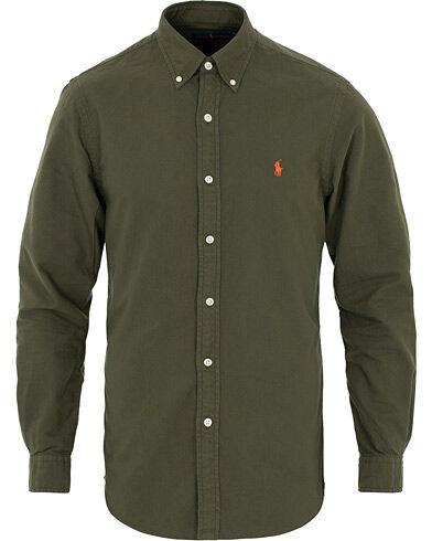 Image of Ralph Lauren Slim Fit Garment Dyed Oxford Shirt Olive