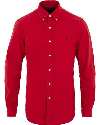 Image of Ralph Lauren Slim Fit Garment Dyed Oxford Shirt Red