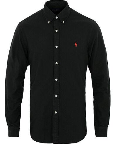 Image of Ralph Lauren Slim Fit Garment Dyed Oxford Shirt Black