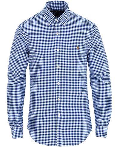 Image of Ralph Lauren Slim Fit Oxford Check Shirt Blue/White
