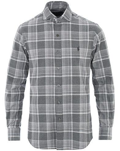Image of Ralph Lauren Slim Fit Flannel Check Shirt Grey