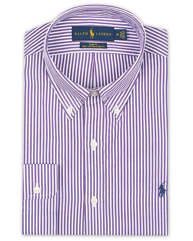 Image of Ralph Lauren Slim Fit Stripe Shirt Purple/White