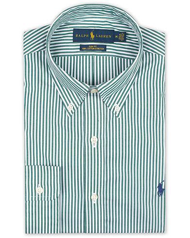 Image of Ralph Lauren Slim Fit Stripe Shirt Green/White