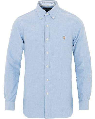 Image of Ralph Lauren Slim Fit Contrast Oxford Shirt Light Blue