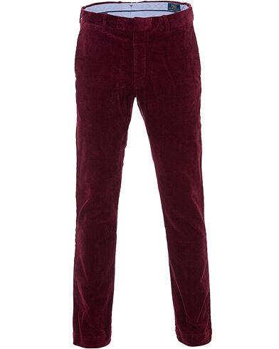 Image of Ralph Lauren Hudson Slim Fit Corduroy Trousers Wine Red
