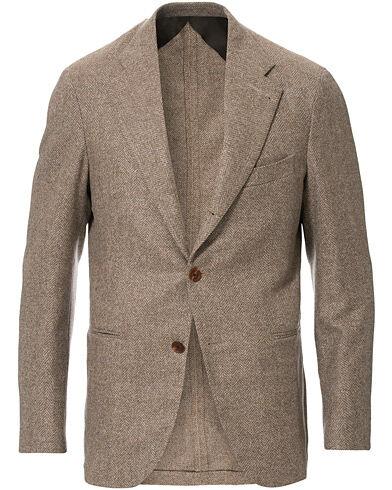 Berg&Berg Dan II Wool/Silk/Cashmere Herringbone Blazer Beige