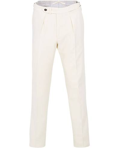 Berg&Berg Arnold Pleated Side Adjuster Flanell Trousers White