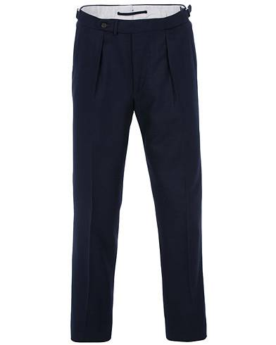 Berg&Berg Arnold Pleated Side Adjuster Flanell Trousers Navy