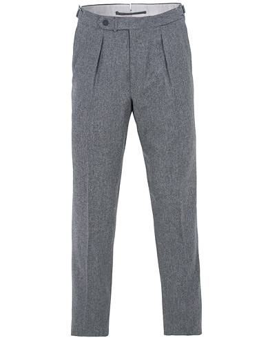 Berg&Berg Arnold Pleated Side Adjuster Flanell Trousers Mid Grey