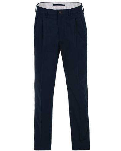 Berg&Berg Anton Double Pleated Cotton/Cashmere Trousers Navy