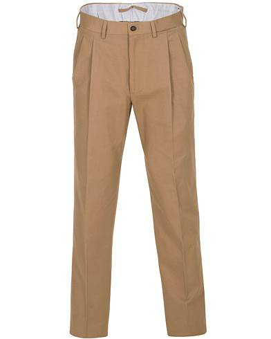 Berg&Berg Anton Double Pleated Cotton/Cashmere Trousers Toffee