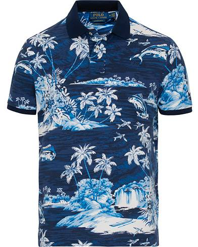 Image of Ralph Lauren Printed Short Sleeve Jersey Polo Blue