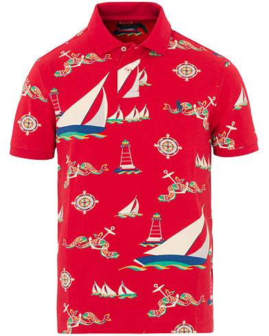 Image of Ralph Lauren Printed Short Sleeve Jersey Polo Red