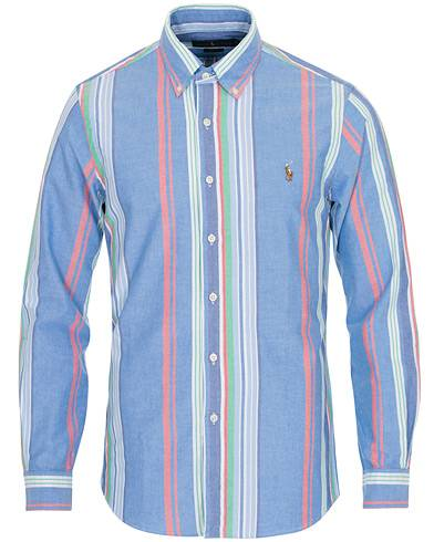 Image of Ralph Lauren Slim Fit Oxford Stripe Shirt Blue/Multi