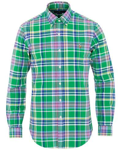 Image of Ralph Lauren Slim Fit Oxford Check Shirt Green/Pink