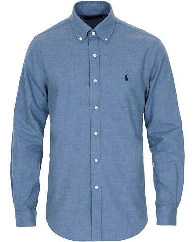Image of Ralph Lauren Slim Fit Flannel Shirt Light Blue