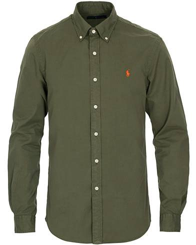 Image of Ralph Lauren Slim Fit Garment Dyed Chino Shirt Olive