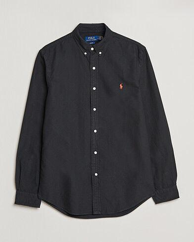 Image of Ralph Lauren Slim Fit Garment Dyed Oxford Shirt Polo Black