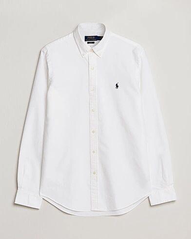 Image of Ralph Lauren Slim Fit Garment Dyed Oxford Shirt White