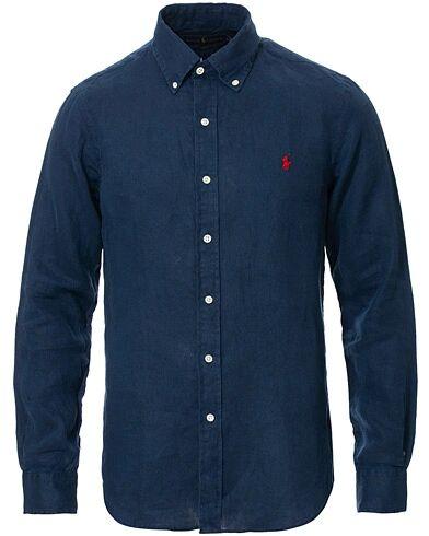 Ralph Lauren Slim Fit Linen Button Down Shirt Newport Navy