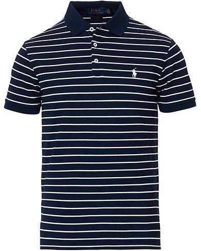 Ralph Lauren Slim Fit Stretch Mesh Stripe Polo White/Navy