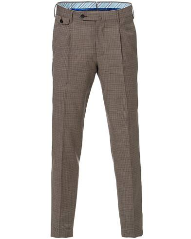 PT01 Gentleman Fit Pleated Houndstooth Wool Trousers Light Brown