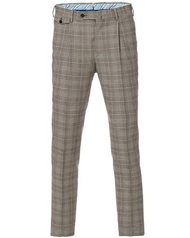 PT01 Gentleman Fit Pleated Overcheck Wool Trousers Light Brown