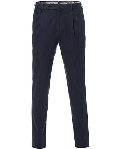 PT01 Gentleman Fit Pleated Cotton Trousers Navy