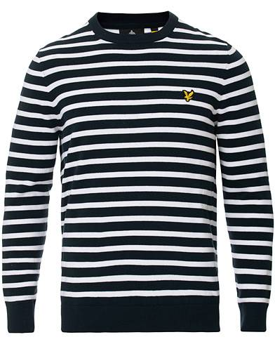 Lyle & Scott Breton Stripe Crew Neck Pullover Dark Navy/White