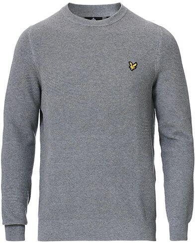Lyle & Scott Grid Stitch Crew Neck Pullover Mid Grey Marl