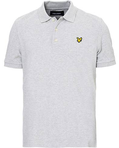 Lyle & Scott Plain Pique Polo Shirt Light Grey Marl