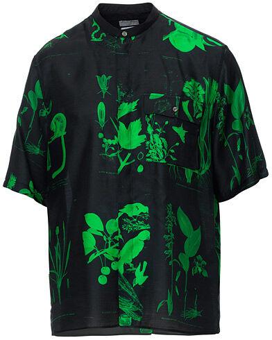 Tiger of Sweden Lacteus Printed Short Sleeve Grandad Shirt Black