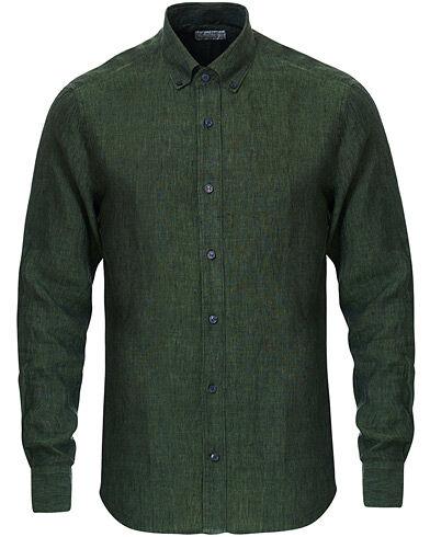 Tiger of Sweden Fenald Button Down Linen Shirt Green