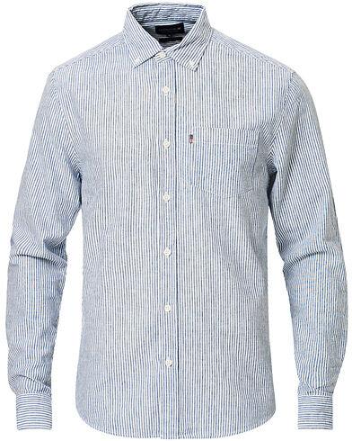 Lexington Stewart Striped Linen/Cotton Shirt White/Blue